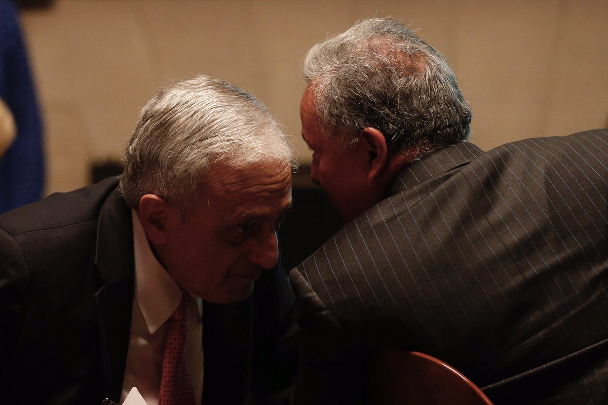 Buffalo School Board Member Carl Paladino confers with his attorney Dennis Vacco before a  hearing before State Education Commissioner MaryEllen Elia on June 22, 2017 in Albany. The hearing will determine if Paladino should be removed from the School Board.  (Mike Groll/Special to The News)