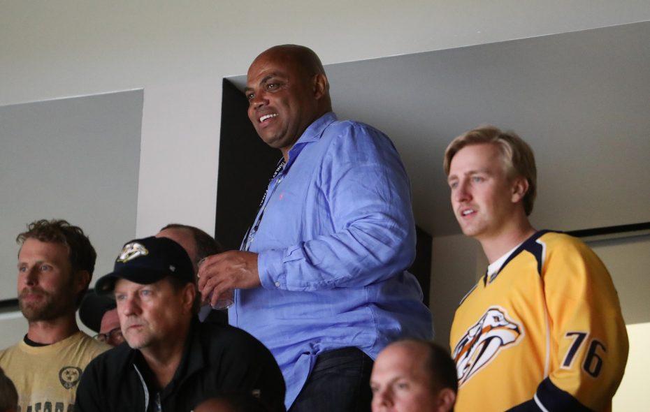 Charles Barkley enjoys the Stanley Cup Finals at Bridgestone Arena in Nashville. (Terry Wyatt/Getty Images)
