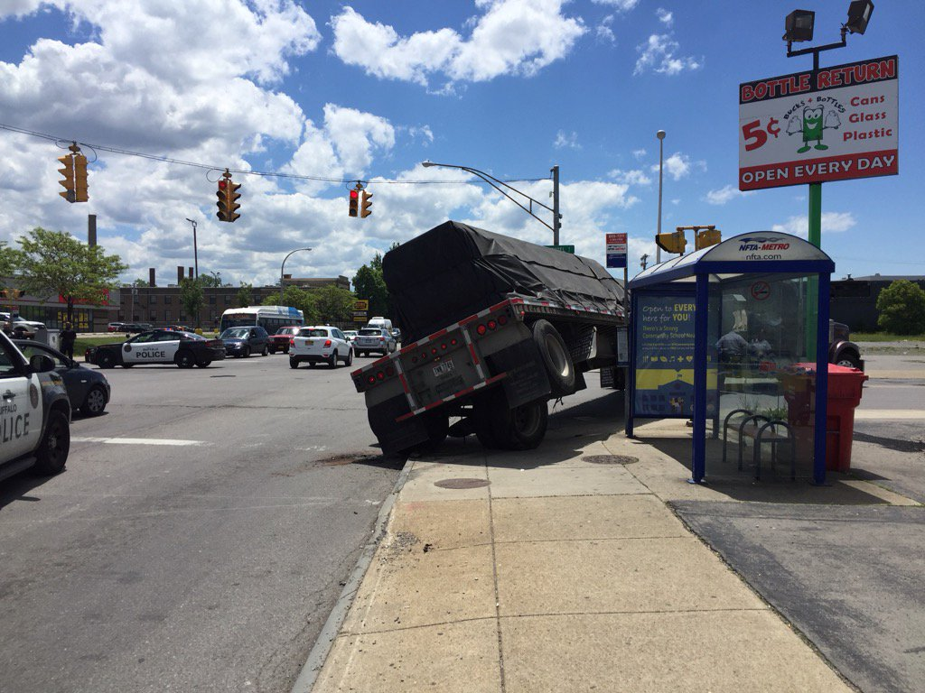 Buffalo Police are on the scene of a truck accident at Hertel and Elmwood avenues. (Lou Michel/Buffalo News)