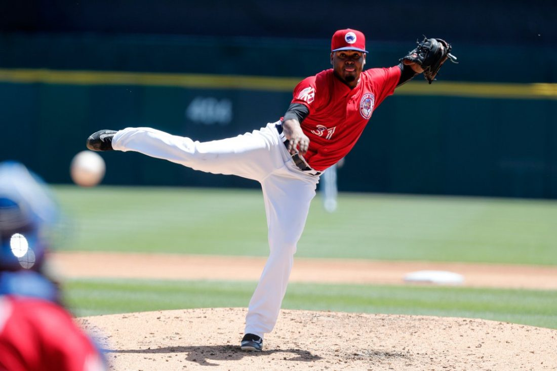 Luis Santos threw 4 2/3 innings in Game 1 on Monday, earning a no-decision in the loss. (Mark Mulville/The Buffalo News)