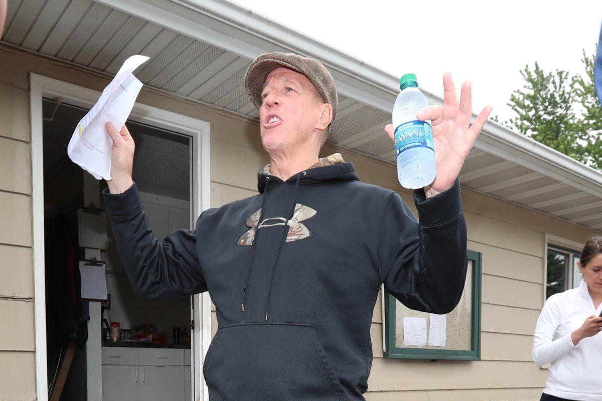 Former Bills quarterback Jim Kelly kicks off his celebrity golf tournament Monday at Terry Hills in Batavia. (James P. McCoy/Buffalo News)