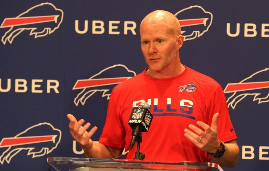 Bills coach Sean McDermott meets with Bills reporters. (James P. McCoy/Buffalo News)