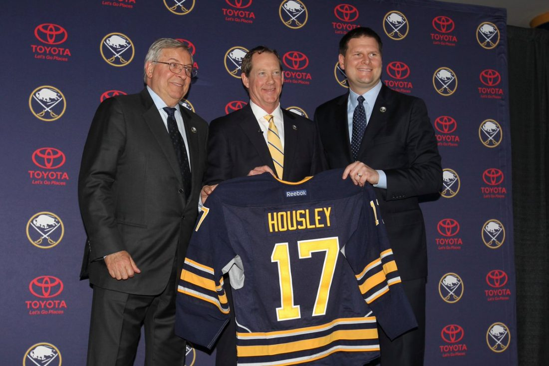 Terry Pegula, left, recently hired Phil Housley and Jason Botterill. They'll make their own hires soon. (James P. McCoy/Buffalo News file photo)