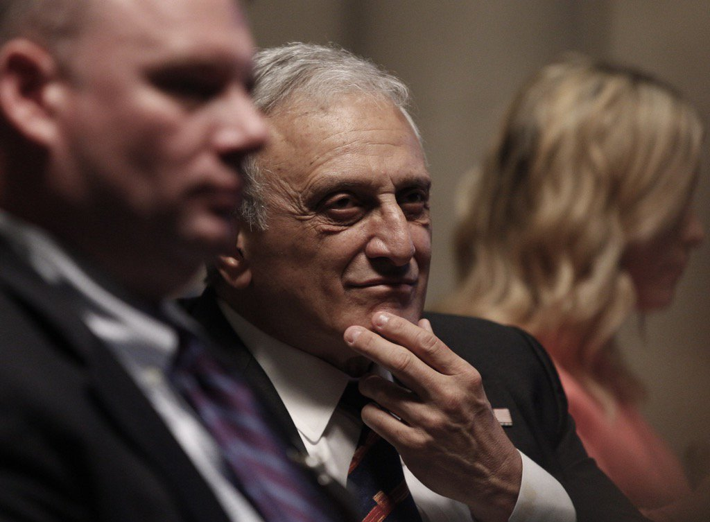 Carl Paladino listens to defense attorney Dennis Vacco's closing arguments Wednesday at the state Education Department hearing on a petition seeking Paladino's removal from the Buffalo School Board. (Mike Groll/Special to The News)