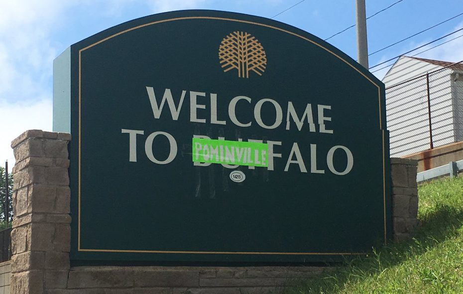 """The """"Welcome to Buffalo"""" sign on Route 33 was changed to """"Welcome to Pominville"""" on the same day the Buffalo Sabres reacquired the forward. (Photo courtesy of Nick Filipowski/@NICK_WKBW)"""