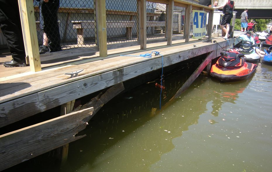 Two jet skis collided and then crashed into this dock, causing the damage seen in this photo provided by the City of Tonawanda Police Department.