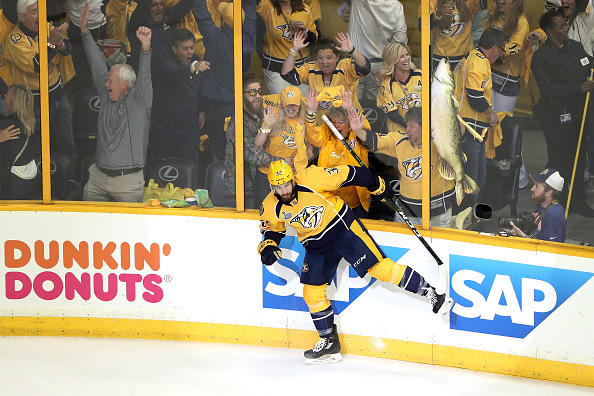 Frederick Gaudreau celebrates his second-period goal with the catfish-crazy fans of Bridgestone Arena (Getty Images).