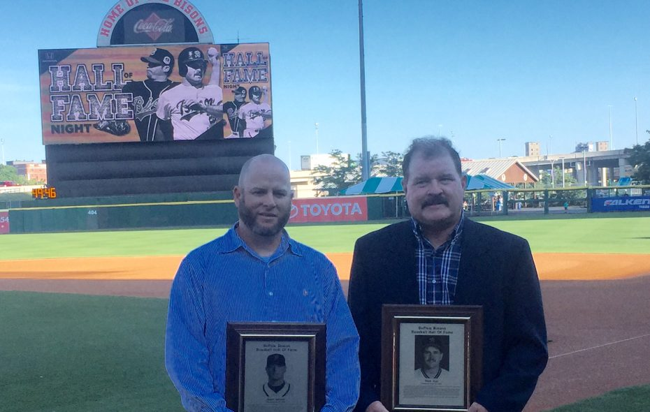 Jason Jacome (left) and Mark Ryal were inducted into the Buffalo Baseball Hall of Fame Friday. (Mike Harrington/Buffalo News)