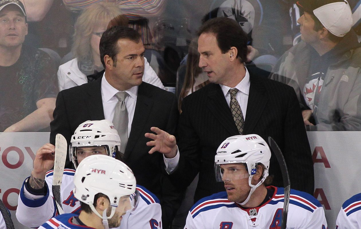 Scott Arniel, right, has been associate coach for the Rangers' Alain Vigneault for four seasons. (Getty Images)