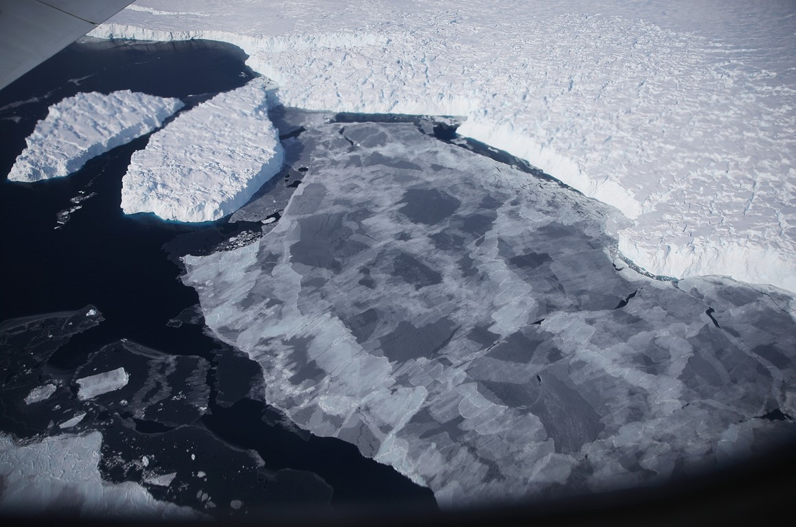 Ice floats near the coast of West Antarctica as viewed from a window of a NASA Operation IceBridge airplane last fall. (Getty Images)