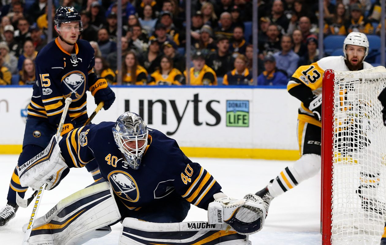 Goalie Robin Lehner and center Jack Eichel are both free to sign new contracts with Buffalo. (Getty Images)