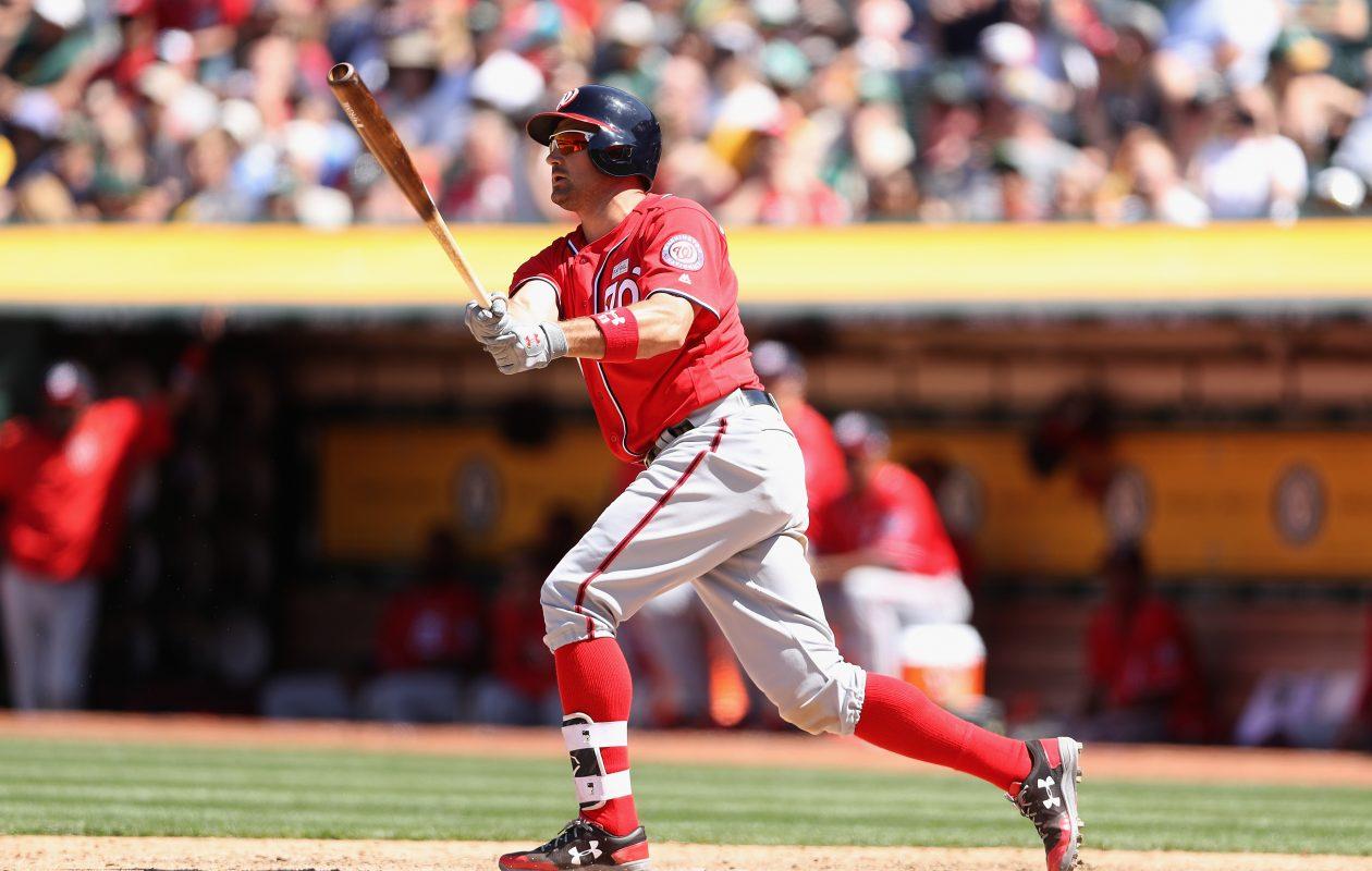 Washington's Ryan Zimmerman hits a three-run home run against Oakland Sunday. (Christian Petersen/Getty Images)