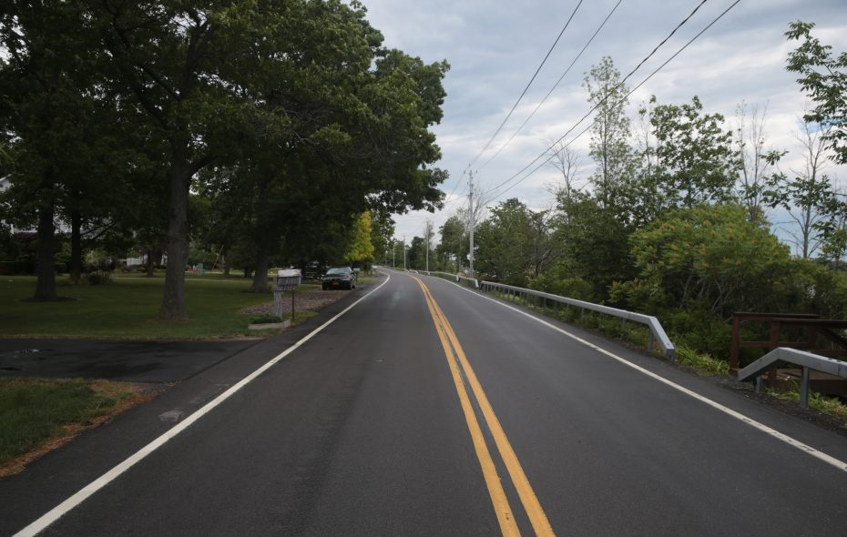 The view on East River Road on Grand Island, looking north, close to where Dana Papaj was seriously injured by a hit-and-run driver on June 13, 2017.  (John Hickey/Buffalo News)