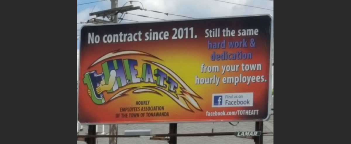 Town of Tonawanda hourly employees air their grievances on billboard. (Nancy Fischer/Buffalo News)