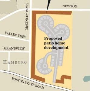 A map showing how developer Glenn Wetzl  obtained a 'doughnut hole' rezoning of a proposed 45-patio home subdivision in Hamburg. The rezoned area was surrounded by a small strip of land that did not need to be rezoned to avoid a requirement that the plan be approved by a supermajority of the Hamburg Town Board.