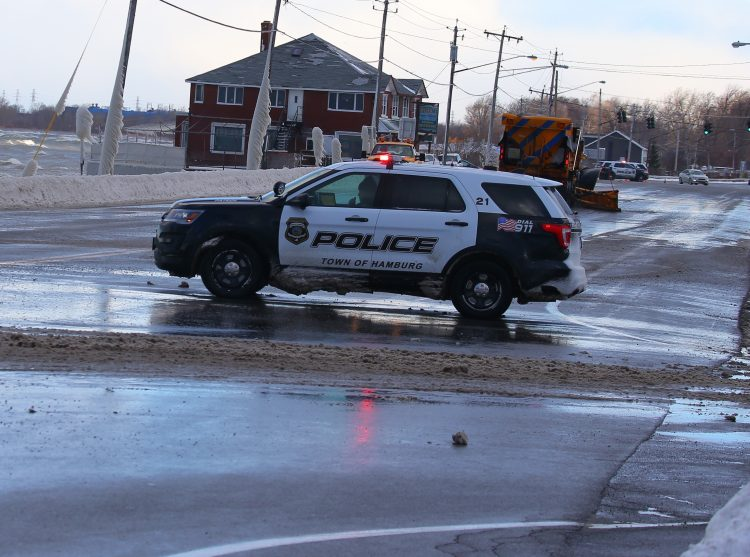 Rollover crash, live power lines force closing of Route 20 in Hamburg