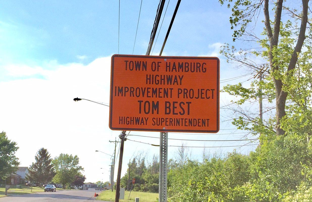 Hamburg Highway Superintendent Tom Best Sr. said he has taken down signs like this that were erected where Hamburg highway crews were repaving roads. (Barbara O'Brien/Buffalo News)
