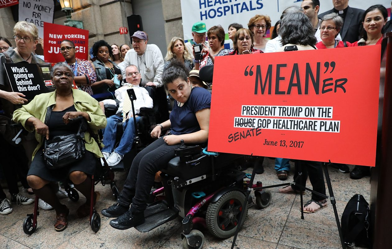 Doctors, nurses, patients and activists attend a rally at Bellevue Hospital in New York a day after Republicans released their health care bill to the public. (Getty Images)