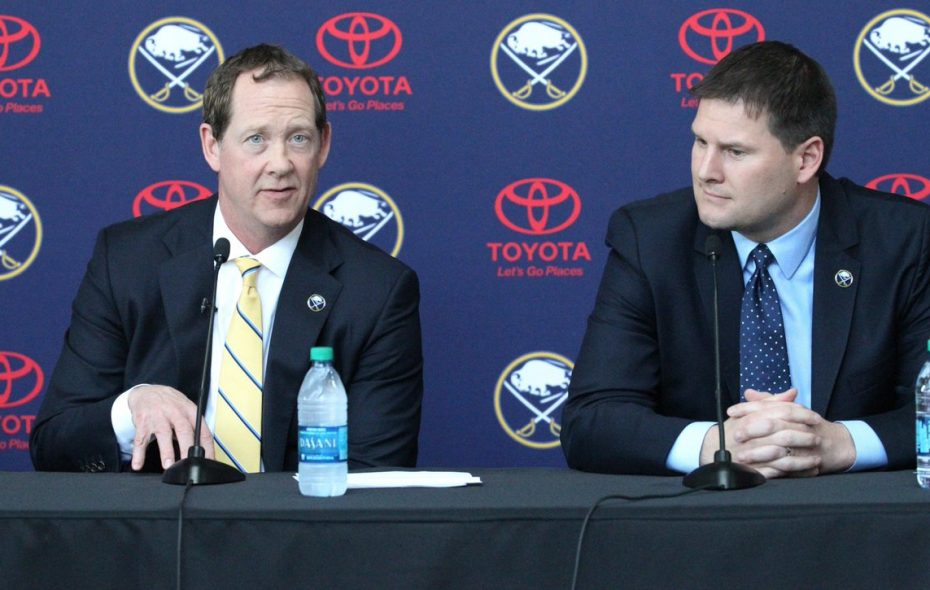 Phil Housley, left, and Jason Botterill are now in charge of the Sabres (James P. McCoy/Buffalo News).