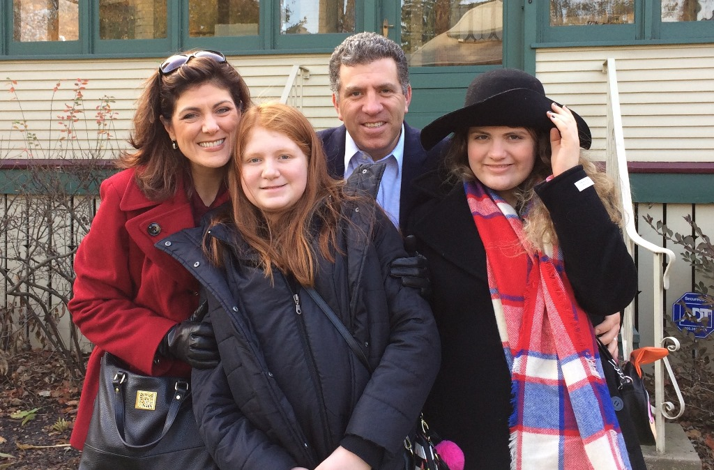The Mora family visiting Chicago at Thanksgiving, with new winter coats in preparation for their move back to Buffalo.