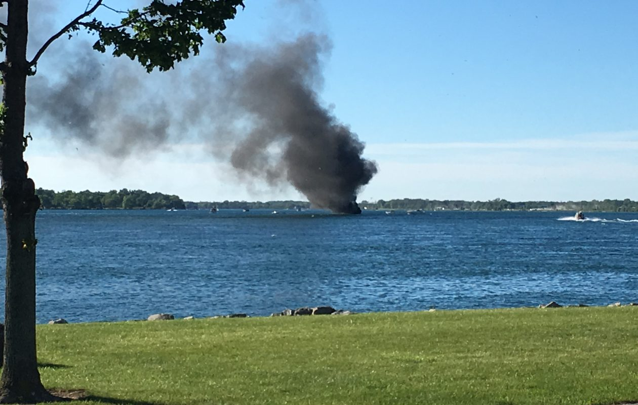 The boat on fire near Niawanda Park. (Photo courtesy of City of Tonawanda Police)