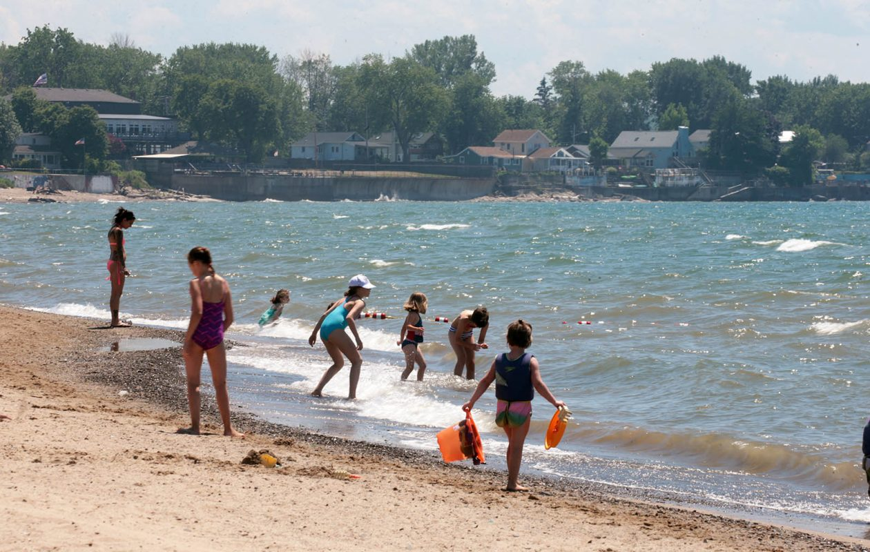Lake Erie's water temperature is more refreshing than usual for mid August. The water temperature Tuesday was 72 degrees. That's six degrees less than the summer's high of 78 degrees in mid-July. (John Hickey/Buffalo News)