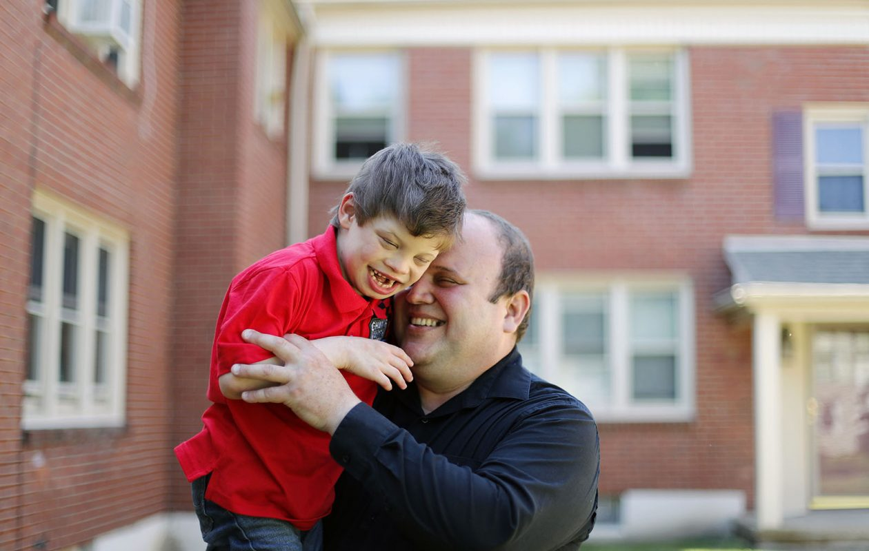 Jorge Suarez Ronda hugs his 6-year-old son Diego at their home in Buffalo on Friday, June 16, 2017.               (Mark Mulville/Buffalo News)