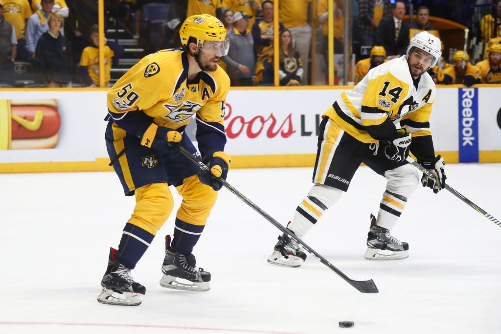 Nashville defenseman Roman Josi led the Stanley Cup final in ice time through four games at an average of 25:25 per game (Getty Images).