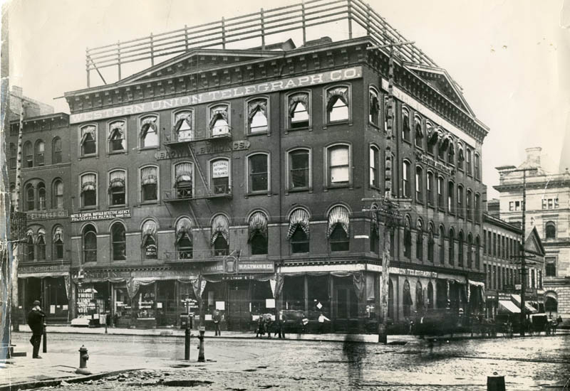 Tragedy struck the corner of Main and Seneca streets when the Brown Building collapsed, trapping 40 to 50 people in its ruins, on May 21, 1896. (News file photo)