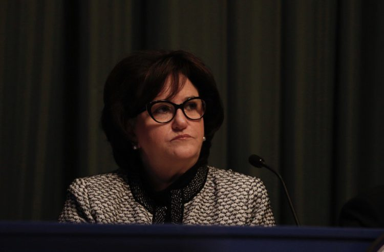 State Education Commissioner MaryEllen Elia presides over hearing in Albany to determine if Carl Paladino should be removed from his elected position on the Buffalo School Board. (Mike Groll / special to The Buffalo News)