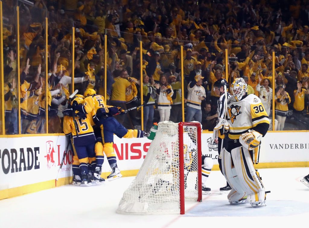 Penguins goalie Matt Murray endured lots of celebrating by the Predators and Bridgestone Arena fans in Games Three and Four (Getty Images).