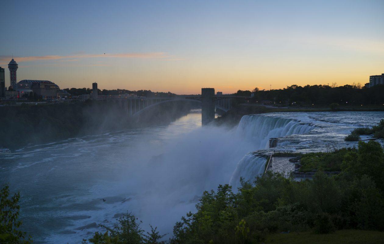 A view from Goat Island as dawn breaks over Niagara Falls State Park, Wednesday, June 21, 2017.  (Derek Gee/Buffalo News)