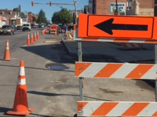 A section of Niagara Street which is undergoing upgrades and improvements.