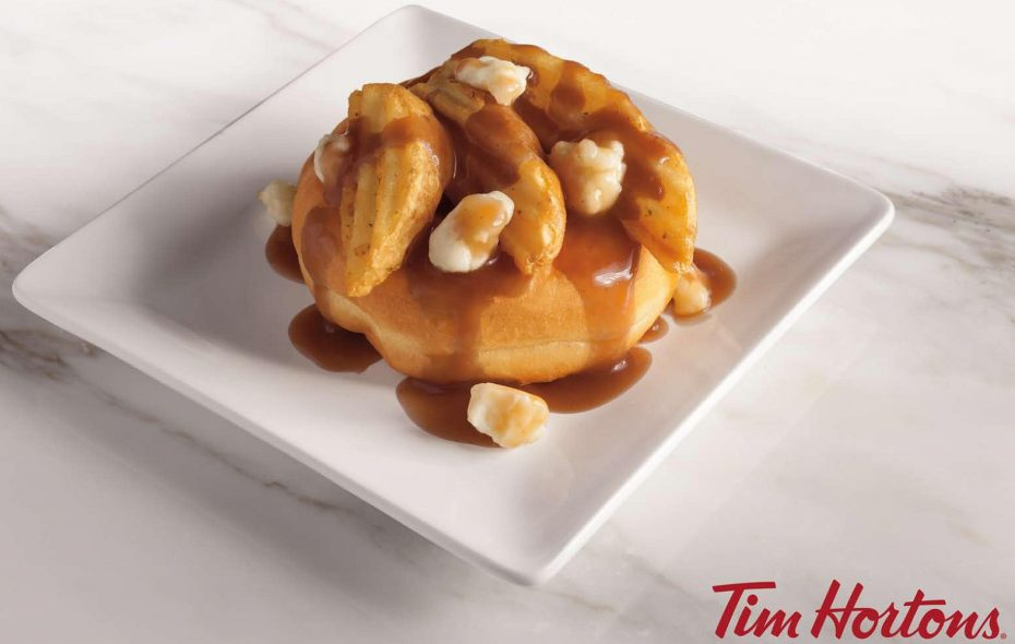 Image of Tim Hortons' Poutine Donut, available one day only at three Buffalo-area locations. (via Tim Hortons)