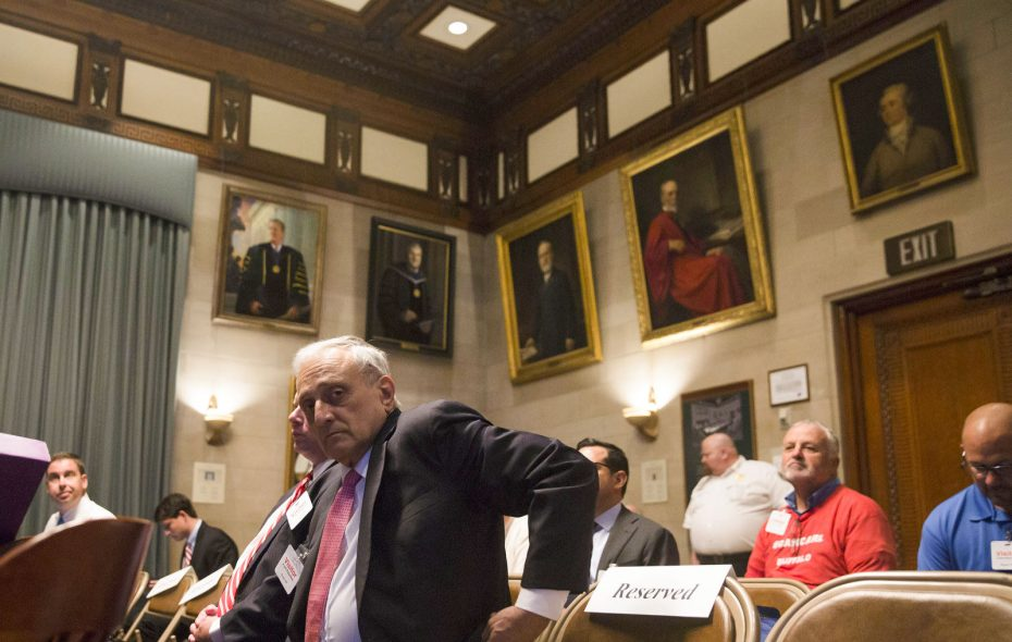 Carl Paladino listens as Dr. Nevergold testifies Thursday in Albany at a hearing to determine whether Paladino should be removed from the Buffalo School Board.  (Mike Groll/Special to The News)