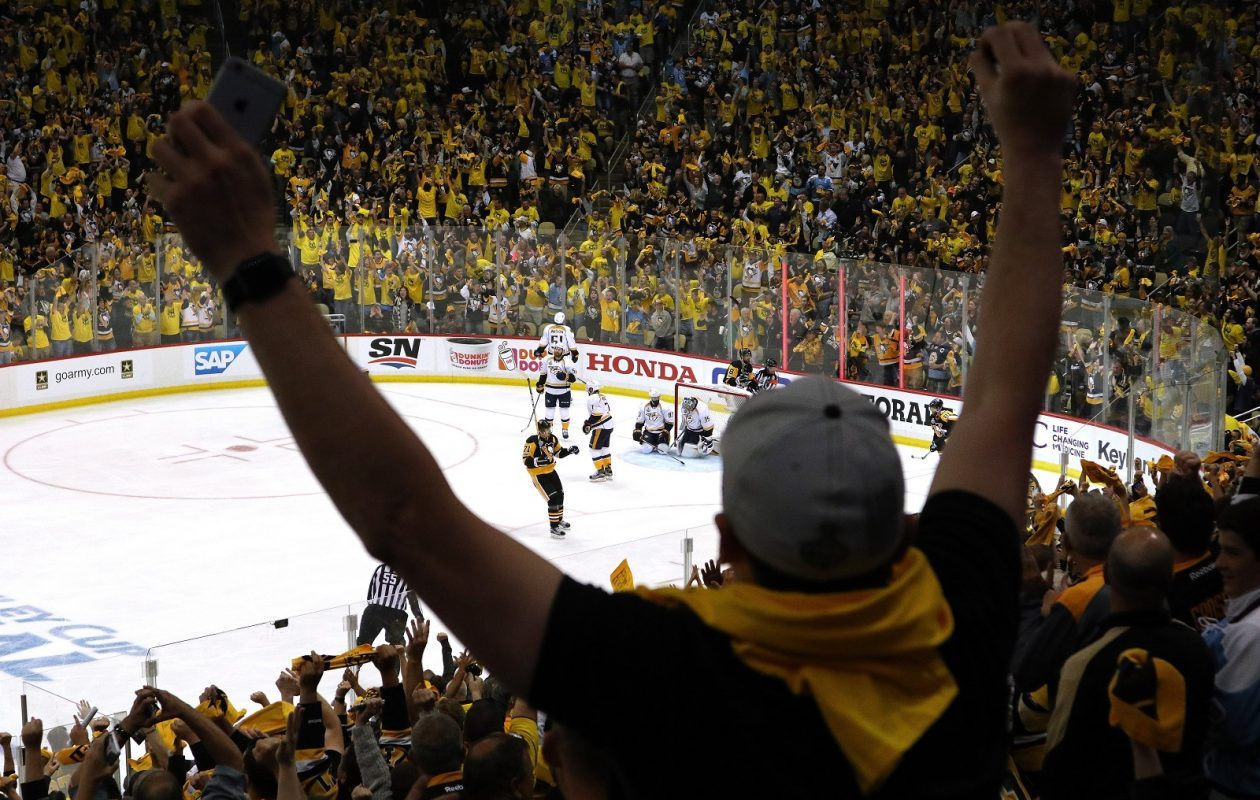 A Pittsburgh Penguins fan reacts after a goal during the third period in Game Two of the 2017 NHL Stanley Cup Final at PPG Paints Arena. (Bruce Bennett/Getty Images)
