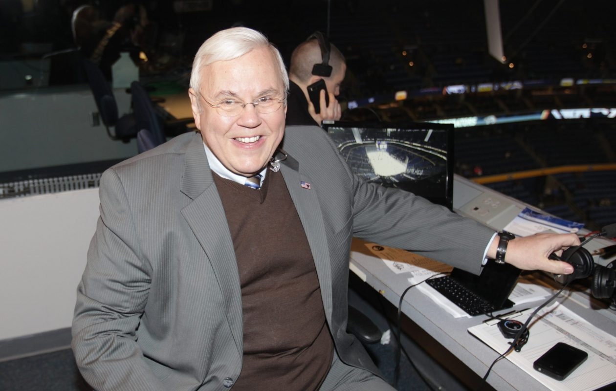 Pete Weber calling a Predators game in Buffalo in 2014 (James P. McCoy/Buffalo News file photo).