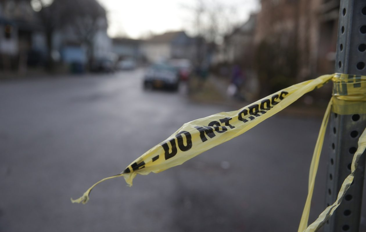 Police tape around the scene where a man died in a struggle with police earlier this year. (John Hickey/Buffalo News)