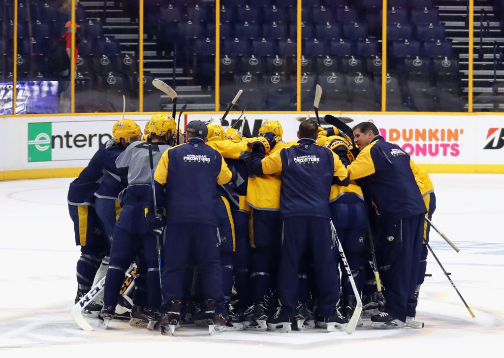 The Predators gather in a close-knit circle after practice Friday in Bridgestone Arena (Getty Images).