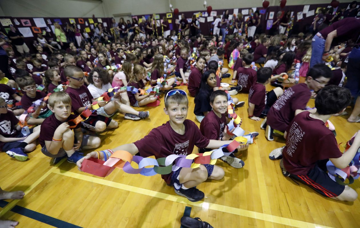 Students from South Davis Elementary and Eggert Elementary schools in Orchard Park celebrate completing more than 10,000 acts of kindness as part of the Rachel's Challenge program. The schools held a ceremony at The Hub in Hamburg on Monday, June 12, 2017.  Rachel's Challenge, a  tribute to one of the students killed in the Columbine High School shooting in 1999,  encourages children to perform acts of kindness in hopes that it inspires others to do the same.           (Mark Mulville/Buffalo News)