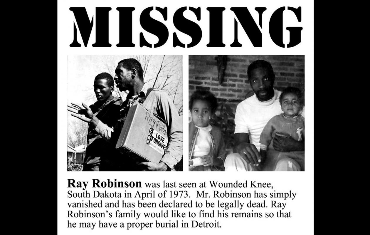The missing person poster that the family of Ray Robinson circulated in hopes of locating his body.