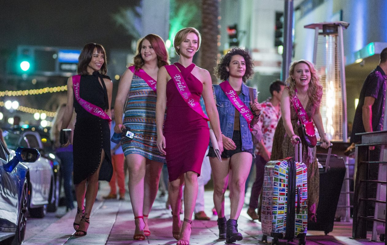 Left to right: Blair (Zoë Kravitz), Alice (Jillian Bell), Jess (Scarlett Johansson), Frankie (Illana Grazer) and Pippa (Kate McKinnon) in Columbia Pictures' 'Rough Night.' (Macall B. Polay/Columbia Pictures)