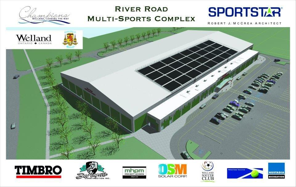 A rendering of Sportstar's River Road multisports complex in Welland, Ont.