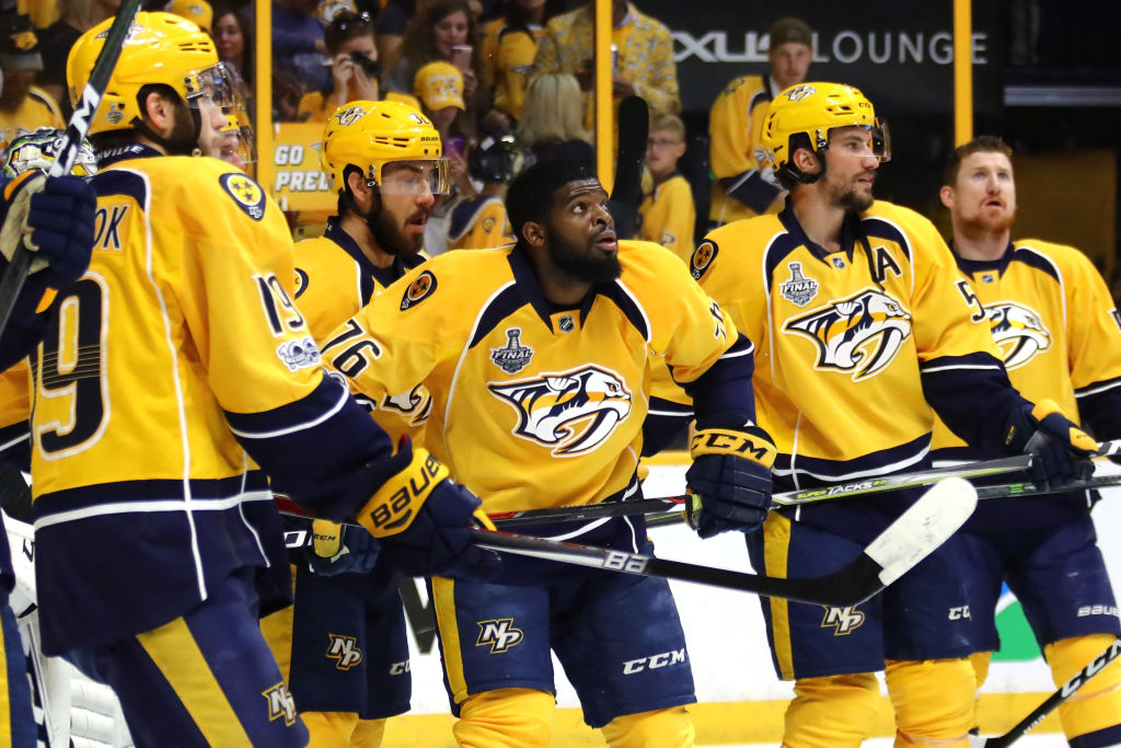 P.K. Subban (76) looks on with teammates during the warmup prior to Game Six (Getty Images).