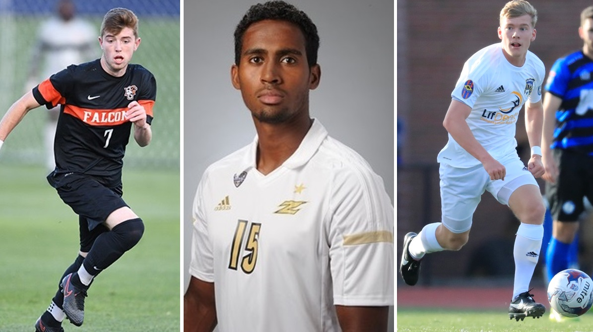 From left: Dayton's Tate Robertson, Erie's Ezana Kahsay and FC Buffalo's Bayley Winkel, all members of BN Soccer's midseason Best XI for Great Lakes East. (Photos via Bowling Green, Akron and Harry Scull Jr. of The Buffalo News)