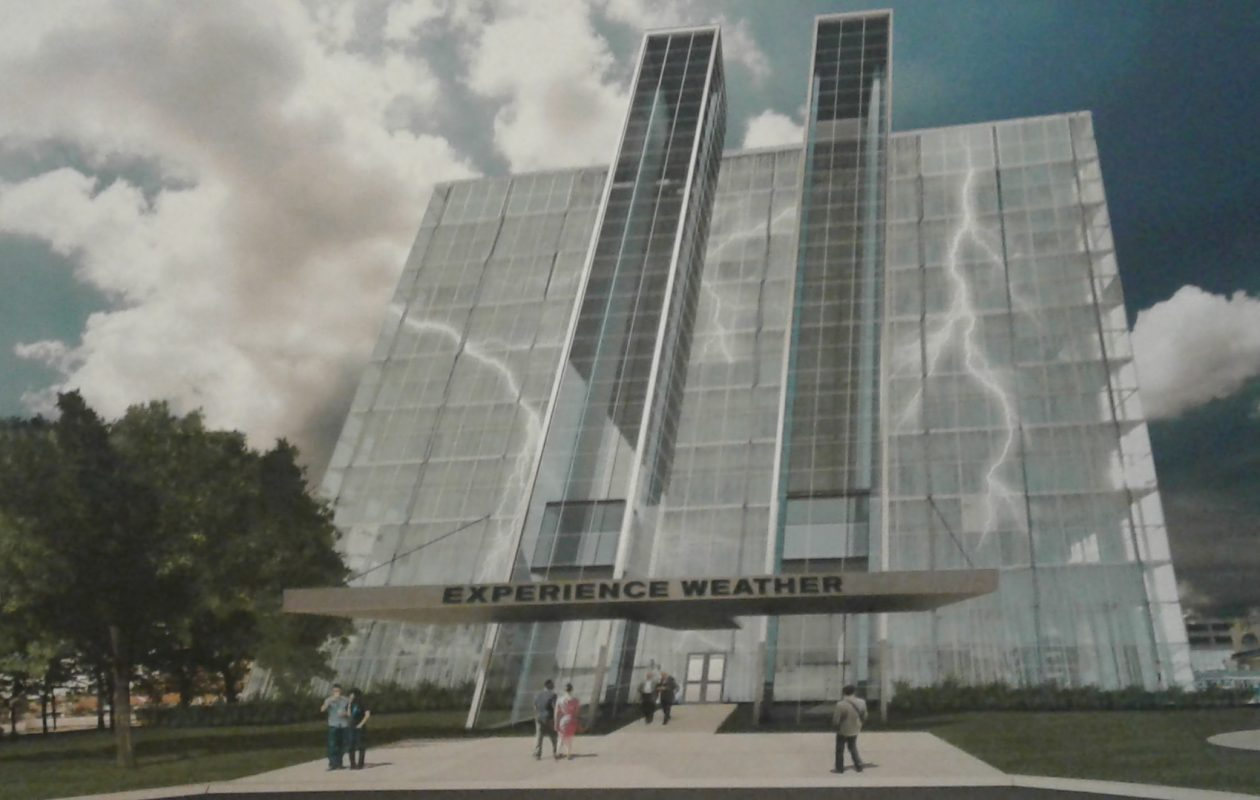 Architect's rendering of the proposed World Weather Center in the One Niagara building in Niagara Falls.