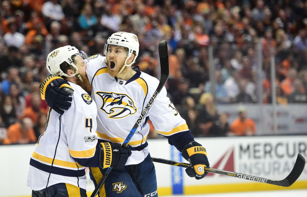 Colin Wilson of the Predators, right, celebrates his goal in Game Five of the Western Conference final at Anaheim with defenseman Ryan Ellis (Getty Images).