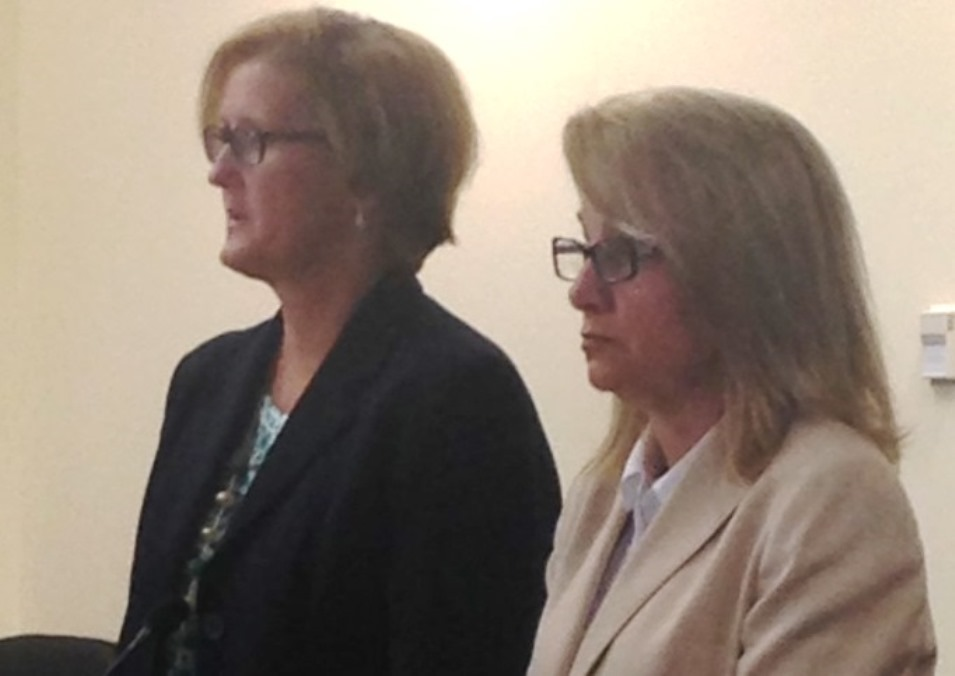 Billie Becker and her attorney, Cheryl Meyers-Buth, in court Tuesday. (Melinda Miller/Buffalo News)
