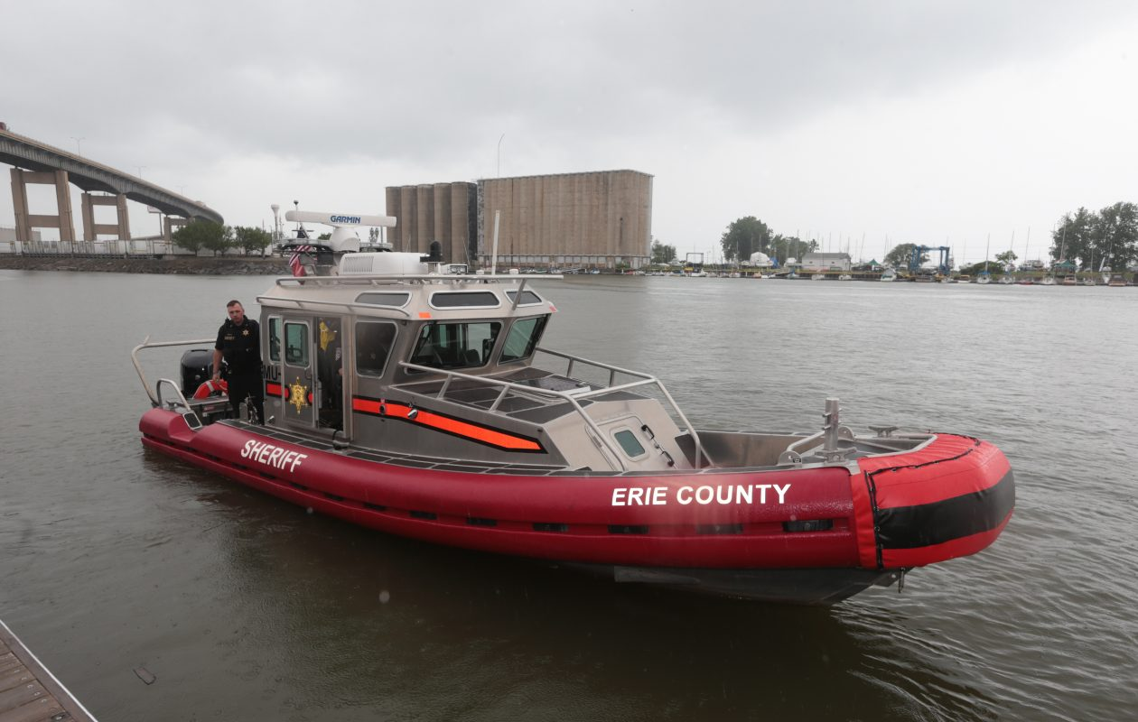 The Erie County Sheriff's Office Marine Division boat cruises in Buffalo's harbor after Sheriff Timothy Howard announced a boating while intoxicated enforcement campaign  at Canalside, in  Buffalo, N.Y.  on Friday, June 23, 2017.  (John Hickey/Buffalo News)