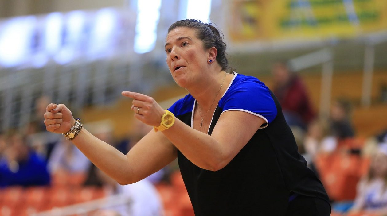 Cleveland Hill coach Carrie Owens on the sidelines during the first half of the Sectional VI Class B final  against Williamsville South at the Buffalo States Sports Arena on Wednesday, March 11, 2015. (Harry Scull Jr./Buffalo News)